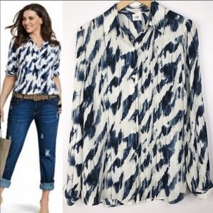 CABI 3096 ABSTRACT BUTTON UP LONG SLEEVE ASSYMETRY